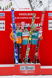 22.12.2013, Gross Titlis Schanze, Engelberg, SUI, FIS Weltcup Ski Sprung, Engelberg, Herren, im Bild v l Andreas Wellinger (GER), Kamil Stoch, Jan Ziobro (POL) // during mens FIS Ski Jumping world cup at the Gross Titlis Schanze in Engelberg, Switzerland on 2013/12/22. EXPA Pictures © 2013, PhotoCredit: EXPA/ Eibner-Pressefoto/ Socher<br /> <br /> *****ATTENTION - OUT of GER*****