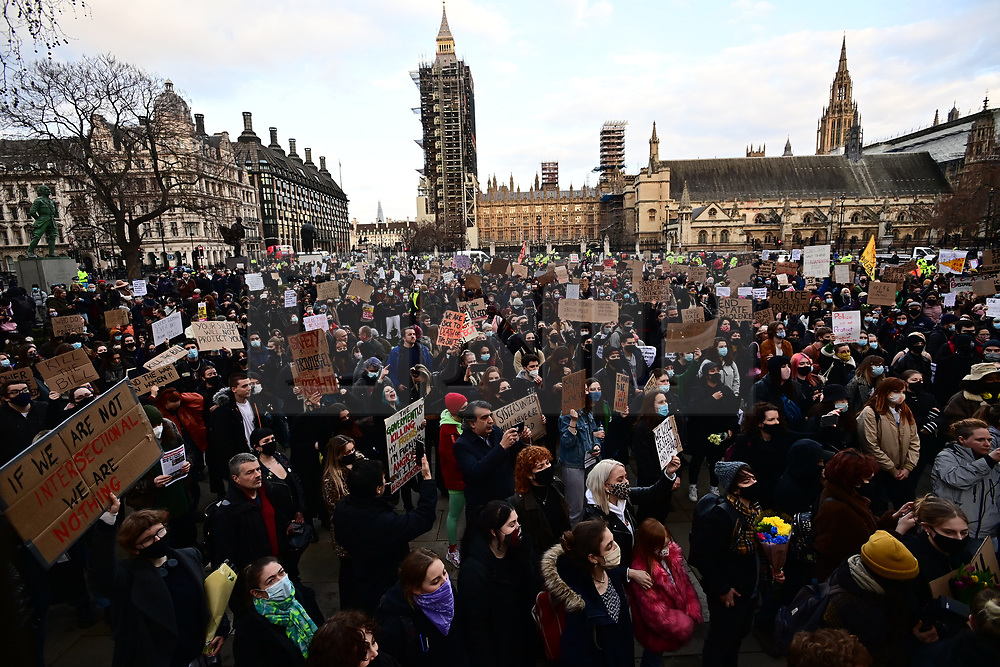 © Licensed to London News Pictures. 15/03/2021. London, UK. Protestors gather in Parliament Square in London for a second day of demonstrations following the actions of the police force at a vigil for murdered Sarah Everard on Saturday evening. There have been calls for Met Chief Cressida Dick to resign after police dragged women away from a bandstand at a vigil for murdered Sarah Everard in Clapham, South London. Photo credit: Ben Cawthra/LNP