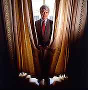 Newt Gingrich hiding behind curtain