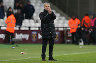 Jose Mourinho, the Manchester United manager applauds the Manchester United fans after full time but doesn't look that pleased with the win. . Premier league match, West Ham Utd v Manchester Utd at the London Stadium, Queen Elizabeth Olympic Park in London on Monday 2nd January 2017.<br /> pic by John Patrick Fletcher, Andrew Orchard sports photography.