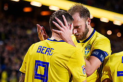 November 20, 2018 - Stockholm, SWEDEN - 181120 Marcus Berg and Andreas Granqvist of Sweden celebrates after 2-0 during the Nations League football match between Sweden and Russia on November 20, 2018 in Stockholm  (Credit Image: © Dennis Ylikangas/Bildbyran via ZUMA Press)