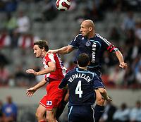 Photo: Maarten Straetemans.<br /> Ajax v Athletico Madrid. LG Amsterdam Tournament. 02/08/2007.<br /> Jaap Stam of Ajax (right) with George Ogararu
