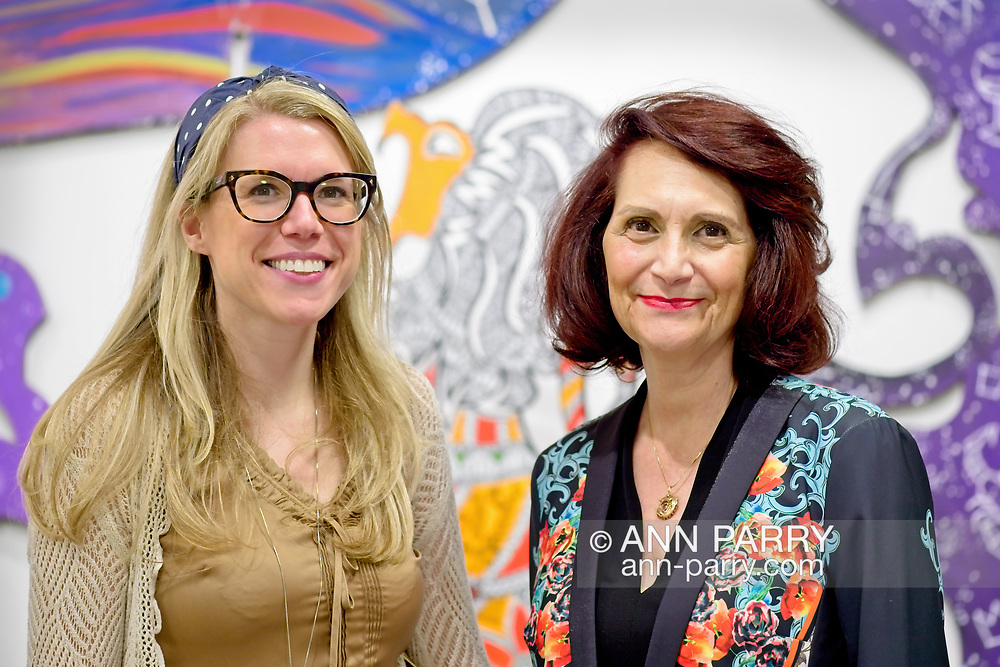 Roslyn, New York, U.S. September 13, 2019. L-R, LAURIE GRAB, of Merrick, and CHANDRI BARAT, are at ANIMODULES Agents of Peace exhibit Farewell Reception and Founders' talk by GARY BARAT and CHANDRI BARAT, at the Nassau County Museum of Art's Manes Art & Education Center, named for Dr. HARVEY MANES, who was in attendance and spearheaded the exhibit.
