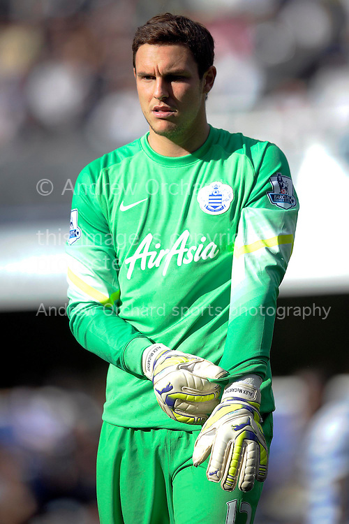 Alex McCarthy , the QPR goalkeeper. Barclays Premier league match, Queens Park Rangers v Liverpool at Loftus Road, White city in London on Sunday 19th October 2014.<br /> pic by John Patrick Fletcher, Andrew Orchard sports photography.