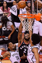 February 11, 2019 - Toronto, Ontario, Canada - Kawhi Leonard #2 of the Toronto Raptors shoots the ball during the Toronto Raptors vs Brooklyn Nets NBA regular season game at Scotiabank Arena on February 11, 2019, in Toronto, Canada (Toronto Raptors win 127-125) (Credit Image: © Anatoliy Cherkasov/NurPhoto via ZUMA Press)