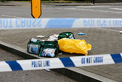 © Licensed to London News Pictures. 13/04/2019. London, UK. Medical kit at the crime scene on Bounds Green Road at the junction of Nightingale Road in North London, where a 19 years old man was stabbed just before 9.30pm on Friday 12 April 2019. The victim remains in a life threatening condition in a central London hospital. Photo credit: Dinendra Haria/LNP