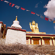 Likir Monastery / Klu-kkhyil Gompa with prayer flags, Ladakh District, India