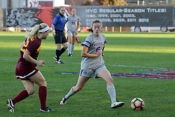 04 November 2016: Shelby Koch(22) & Bronwyn Boswell (6) during an NCAA Missouri Valley Conference (MVC) Championship series women's semi-final soccer game between the Loyola Ramblers and the Evansville Purple Aces on Adelaide Street Field in Normal IL