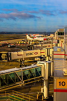 Jet bridges connecting aircraft to gates at London Gatwick Airport, London, England.