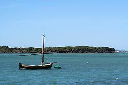 Piccola barca a vela ancorata nell'acqua bassa del posrto di Porto Cesareo (LE). Sullo sfondo l'isola dei conigli.