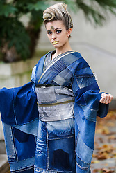 "© Licensed to London News Pictures. 29/09/2019. London, UK. A performer wearing Japanese outfits during the annual Japan Matsuri festival of Japanese music, food and culture in Trafalgar Square. The concept of the theme this year is ""Future generations"".<br /> <br /> Photo credit: Dinendra Haria/LNP"