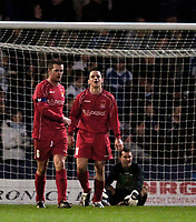 Photo: Jed Wee.<br />Oldham Athletic v Chasetown. The FA Cup. 16/11/2005.<br /><br />Chasetown heads start to go down as their fairytale Cup run comes to an end against Oldham.