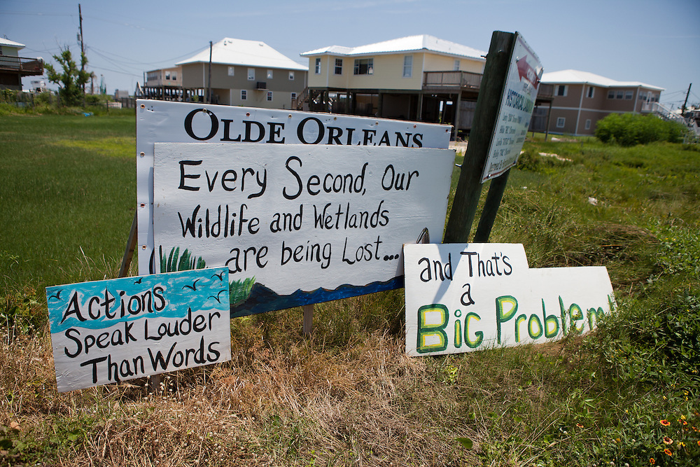 Signs protesting BP and the oil disaster on Grand Isle, Louisiana