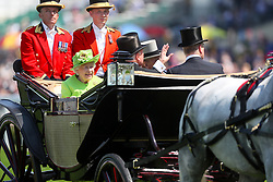 Queen Elizabeth II and Prince Philip, Duke of Edinburgh in their carriage during day one of Royal Ascot at Ascot Racecourse.