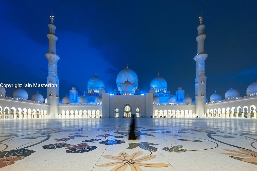 Courtyard at night of Sheikh Zayed Grand Mosque in Abu Dhabi United Arab Emirates