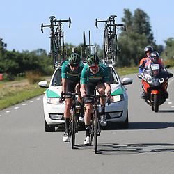 BIDDINGHUIZEN (NED) WIELRENNEN<br />Zuiderzeeronde eerste wedstrijd Nederlandse Loterij  Clubcompetitie 2021<br />Arne Peters en Marien Bogerd onderweg in de winnende ontsnapping