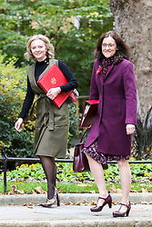 © Licensed to London News Pictures. 29/10/2019. London, UK. Secretary of State for International Trade LIZ TRUSS (L) and Secretary of State for Environment, Food & Rural Affairs THERESA VILLIERS (R) arrives in Downing Street to attend the weekly cabinet meeting. Photo credit: Dinendra Haria/LNP