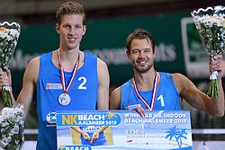 04-01-2015 NED: Open NK Indoor Beachvolleybal, Aalsmeer<br /> Christiaan Varenhorst en Reinder Nummerdor winnen het NK Beachvolleybal