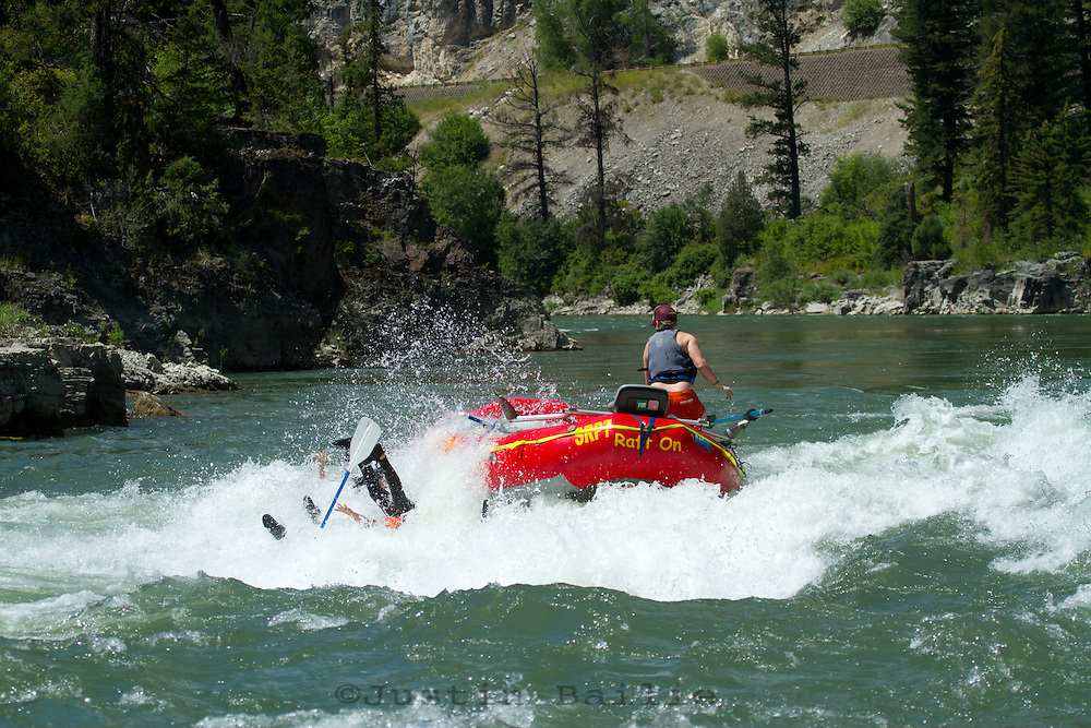 """Whitewater kayaking near the """"Lunch Counter Rapid"""" (class 3) on the Snake River near Jackson,  Wyoming."""
