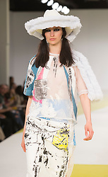 © Licensed to London News Pictures. 01/06/2015. London, UK. Collection by Amy Jordan. Fashion show of De Montfort University (Leicester) at Graduate Fashion Week 2015. Graduate Fashion Week takes place from 30 May to 2 June 2015 at the Old Truman Brewery, Brick Lane. Photo credit : Bettina Strenske/LNP