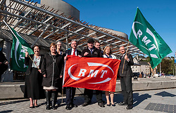 Pictured: Richard Leonard was joined by other MSPs inluding Jackie Baillie, Patrick Harvie, Claudia Beamish, Elaine Smith, Neil Finlay and others.<br /><br />Richard Leonard, leader of Scottish labour, Patrick Harvie, co-leader of the Scotrtish Greens, joined other MSPs and memberes of the RMT union today to protest against Abellio contract. The rail union were demonstrating outside the Scottish Parliament in a call for the termination of privateer Abellio ScotRail's contract.<br /><br />Ger Harley | EEm 2 October 2019