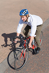 Man cycling to work,