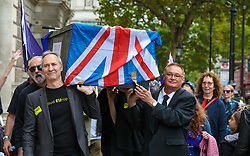 October 14, 2017 - London, London, United Kingdom - Image ©Licensed to i-Images Picture Agency. 14/10/2017. London, United Kingdom. Stop Brexit Rally. ..Protesters from No 10 Vigil For Victory organisation marched in Whitehall to demonstrate Britain leaving the European Union. A funeral procession passed Downing Street in Westminster and the protesters rally in Parliament Square. ..Picture by Dinendra Haria / i-Images (Credit Image: © Dinendra Haria/i-Images via ZUMA Press)