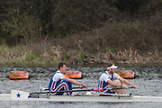 Caversham. Berkshire. UK<br /> Men's pair, Will NEW and James ROBSON, competing at the 2016 GBRowing U23 Trials at the GBRowing Training base near Reading, Berkshire.<br /> <br /> Monday  11/04/2016 <br /> <br /> [Mandatory Credit; Peter SPURRIER/Intersport-images]