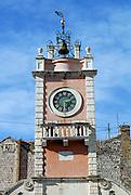 Clock tower  of Gradska Straza (or Loggia della Gran Guardia), on Narodni Trg (or Piazza dei Signori). Zadar, Croatia