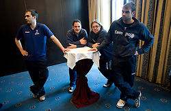 Jure Natek of Slovenia, Sokol Kadrija, Gorazd Zuzek and Matjaz Brumen of Slovenian team at meeting with press during the Men's Handball European Championship on January 23, 2009 in Hotel Grauerbar, Innsbruck, Austria. (Photo by Vid Ponikvar / Sportida) - on January 2010