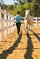 A young woman works with her horse in southern California.