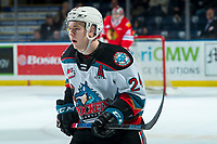 KELOWNA, BC - FEBRUARY 8: Kyle Topping #24 of the Kelowna Rockets skates against the Portland Winterhawks at Prospera Place on February 8, 2020 in Kelowna, Canada. (Photo by Marissa Baecker/Shoot the Breeze)
