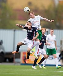 =Hibernian's Liam Craig over Falkirk's Tom Taiwo. <br /> Falkirk 0 v 3 Hibernian, Scottish Championship game played at The Falkirk Stadium 2/5/2015.