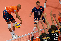 21-09-2019 NED: EC Volleyball 2019 Netherlands - Germany, Apeldoorn<br /> 1/8 final EC Volleyball - Germany win 3-1 and goed to quarter final against Poland / Nimir Abdelaziz #14 of Netherlands