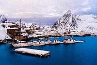 The fishing village of Hamnoy, near Reine, on Moskenesoya Island, Lofoten Islands, Arctic, Northern Norway.