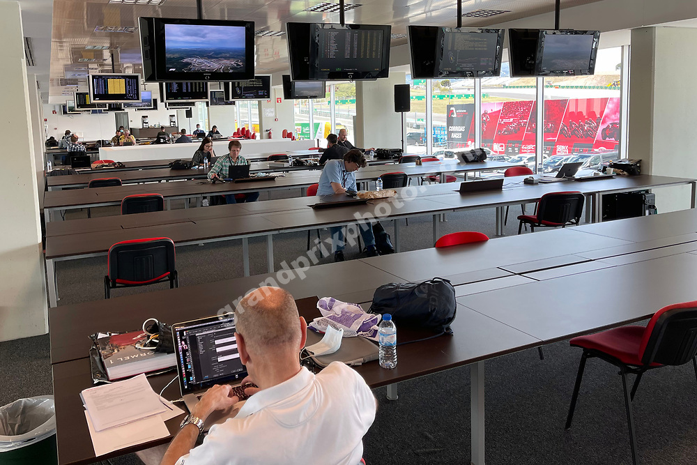 Peter Nygaard at work in the media centre before the 2021 Portuguese Grand Prix in Portimao.. Photo: Grand Prix Photo