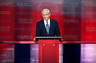 Ron Paul..Eight republican candidates for US President face off at a debate held at the Ronald Reagan Library. The debate was sponsored by NBC News and POLITICO, and was moderated by Brian Williams, anchor of NBC Nightly News.