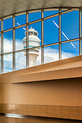 The control tower through a window in the International concourse at Hartsfield-Jackson Atlanta International Airport.