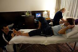 Physiotherapist Urban Komac, Manca Marc and Marcel Rodman of Slovenian National Ice Hockey team in a massage room in the hotel Holiday Inn at IIHF 2011 World Championship Slovakia, on May 4, 2011 in Bratislava, Slovakia. (Photo By Vid Ponikvar / Sportida.com)