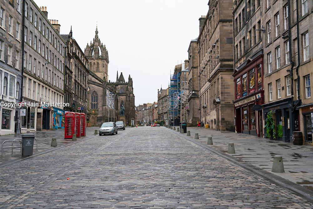 Royal Mile is almost deserted during level 4 lockdown in Covid-19 pandemic, Edinburgh, Scotland, UK