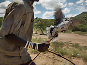 Kapala hunting a dove. At the Hadza camp of Dedauko.