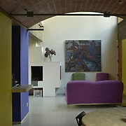 Paris, France: Interior view, ground floor, living room, Jaoul house (1952) at 82 bis, rue de Longchamp, Neuilly-sur-Seine - Le Corbusier arch - Photographs by Alejandro Sala