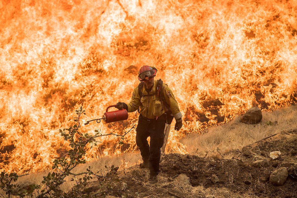 CalFire Capt. Clinton Farzell lights a controlled burn along Old Lawley Toll Road to fight the Glass Fire near Calistoga, Calif. on Oct. 2, 2020.