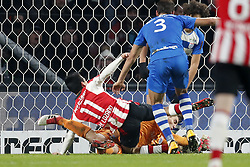 (L-R) Hirving Lozano of PSV, Nicolas Freire of PEC Zwolle, goalkeeper Mickey van der Hart of PEC Zwolle, Phillipe Sandler of PEC Zwolle, during the Dutch Eredivisie match between PSV Eindhoven and PEC Zwolle at the Phillips stadium on February 03, 2018 in Eindhoven, The Netherlands