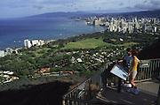 View from Diamond Head, Waikiki, Oahu, Hawaii<br />