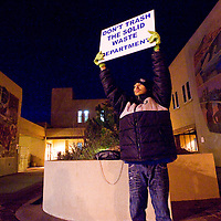 111312       Cable Hoover<br /> <br /> Anthony Perez protests the propose privatization of the Solid Waste Department outside of Gallup City Hall Tuesday.