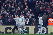 Leighton Baines of Everton (L) celebrates with his team mates after he scores his team's first goal from the penalty spot. Premier League match, Crystal Palace v Everton at Selhurst Park in London on Saturday 18th November 2017.<br /> pic by Steffan Bowen, Andrew Orchard sports photography.