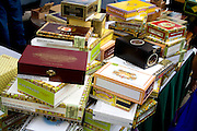 Cigar boxes on display at street vendors booth. Grand Old Day Street Fair St Paul Minnesota USA