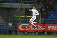 Tim Ream of Fulham celebrates after scoring his teams 1st goal. EFL Skybet championship match, Cardiff city v Fulham at the Cardiff city stadium in Cardiff, South Wales on Boxing Day, Tuesday 26th December 2017.<br /> pic by Andrew Orchard, Andrew Orchard sports photography.