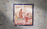 Roman Erotic Fresco from Pompeii depicting  sexual activities,  Naples National Archaeological Museum - from a private house venereum, 50-79 AD , , inv no 27696 , .<br /> <br /> If you prefer to buy from our ALAMY PHOTO LIBRARY  Collection visit : https://www.alamy.com/portfolio/paul-williams-funkystock - Scroll down and type - Roman Art Erotic  - into LOWER search box. {TIP - Refine search by adding a background colour as well}.<br /> <br /> Visit our ROMAN ART & HISTORIC SITES PHOTO COLLECTIONS for more photos to download or buy as wall art prints https://funkystock.photoshelter.com/gallery-collection/The-Romans-Art-Artefacts-Antiquities-Historic-Sites-Pictures-Images/C0000r2uLJJo9_s0